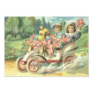 Carro vintage do pintinho da páscoa das crianças