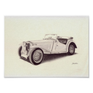 Carro vintage: MG TC Pôster
