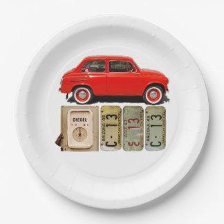 Carro vintage vermelho prato de papel