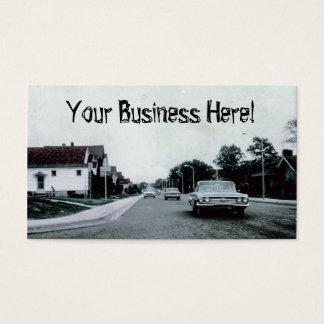 Carros clássicos, condução de carro vintage na cartão de visitas
