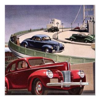Carros clássicos do sedan do vintage no convite da