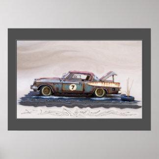carros clássicos dos anos 50, carros do cemitério pôster