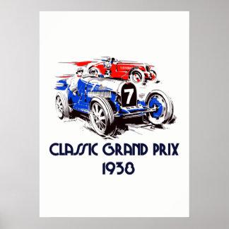 Carros clássicos Prix grande 53 x 73 do estilo Pôster