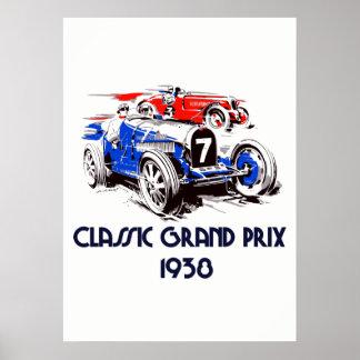 Carros clássicos Prix grande do estilo retro 51 Poster