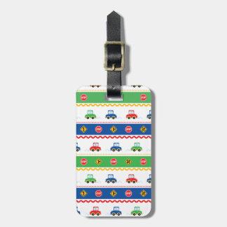Carros coloridos customizáveis bonitos dos desenho tag de mala