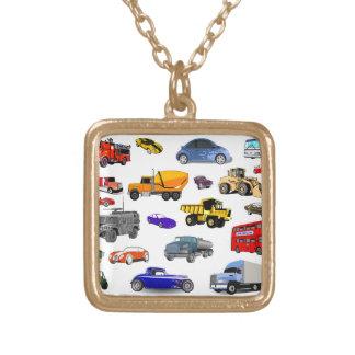 carros de corridas do ônibus da escavadora do colar banhado a ouro