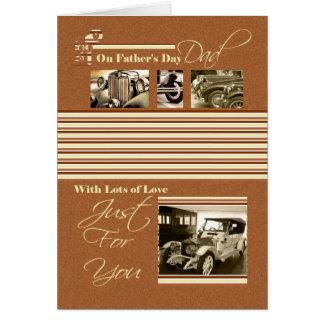Carros do clássico do cartão do dia dos pais