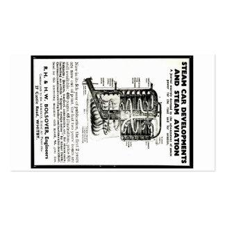 Carros do vapor do anúncio do cartão de visita e