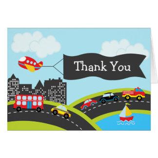 Carros e cartões de agradecimentos dos caminhões