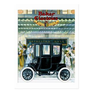 Carros elétricos do padeiro - anúncio do vintage cartão postal