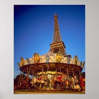 Carrossel torre Eiffel Paris France Impressão