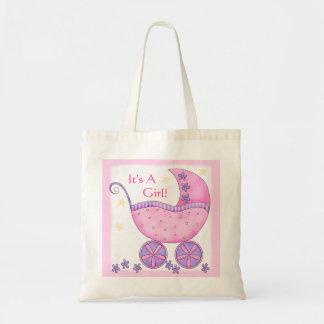 Carruagem cor-de-rosa do carrinho de bebê da sacola tote budget