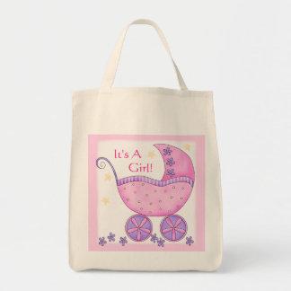 Carruagem cor-de-rosa do carrinho de bebê da sacola tote de mercado