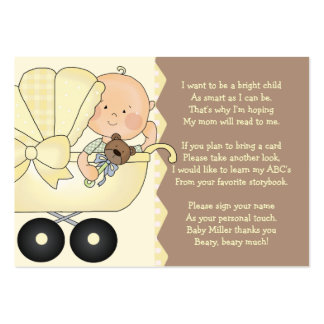 Carruagem de bebê - cartão da inserção do livro cartão de visita grande