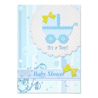 """Carruagem de bebê """"é chá de fraldas azul de um convite 12.7 x 17.78cm"""
