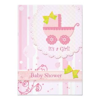 Carruagem de bebê é uma menina! Chá de fraldas Convite 12.7 X 17.78cm