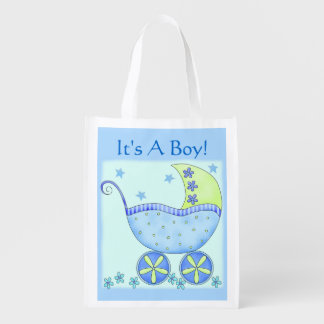 Carruagem do carrinho de bebê azul é um menino sacola reusável