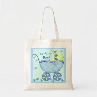 Carruagem do carrinho de bebê azul personalizada sacola tote budget