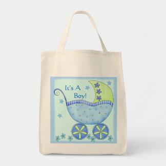 Carruagem do carrinho de bebê azul personalizada sacola tote de mercado