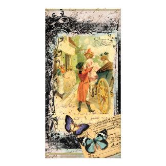 carruagem do século XVIII do casamento do casal Cartão Com Foto