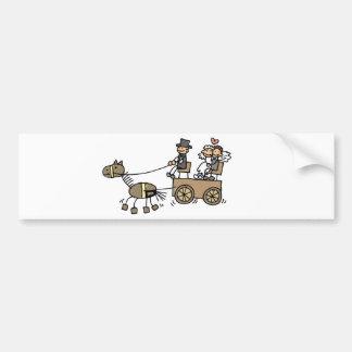 Carruagem puxado a cavalo para casamentos adesivo para carro