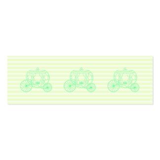 Carruagem verde do conto de fadas cartoes de visita