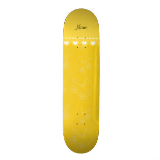 Carruagems de bebê brancas amarelas personalizadas shape de skate 18,7cm