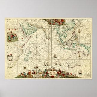 Carta 1690 do mar de Holandês Leste India Empresa Poster