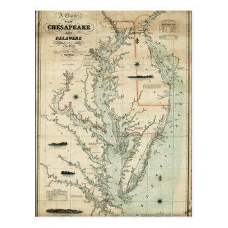 Carta 1852 do Chesapeake e das baías de Delaware Cartão Postal