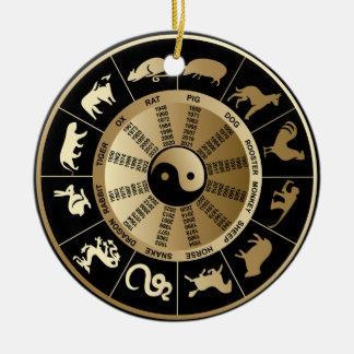Carta chinesa do zodíaco enfeite