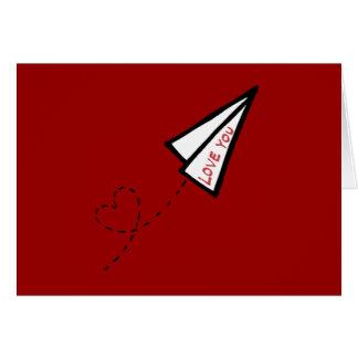 Carta de amor do avião de papel cartão comemorativo