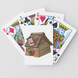 Carta De Baralho Casa pequena da palha do conto de fadas de três
