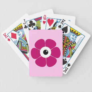Carta De Baralho o olho da flor cor-de-rosa