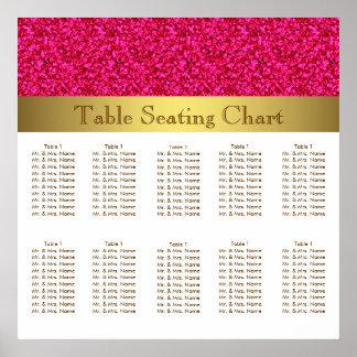 Carta do assento do casamento do rosa quente e do impressão