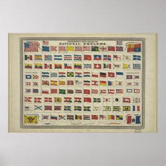 Carta do vintage de bandeiras nacionais desde 1968 pôster