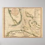 Carta náutica do golfo de Florida Impressão