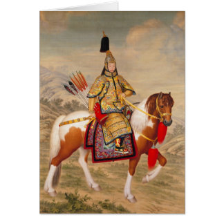 Cartão 乾隆帝 do imperador do Qianlong de China na armadura