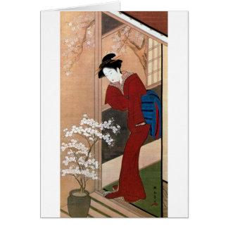Cartão 桜の花と女, flores de cerejeira do 春章 e uma mulher,