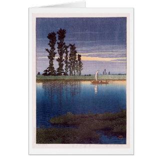 Cartão 牛堀の夕暮れ, nivelando em Ushibori, Hasui Kawase,