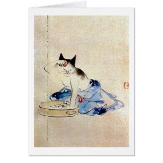 Cartão 顔を洗う猫, lavagem da cara do gato do 広重, Hiroshige