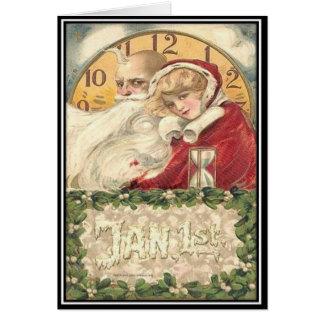 Cartão 1º de janeiro ano novo do tempo velho do pai