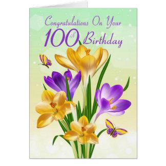 Cartão 100th Açafrão amarelo e roxo do aniversário