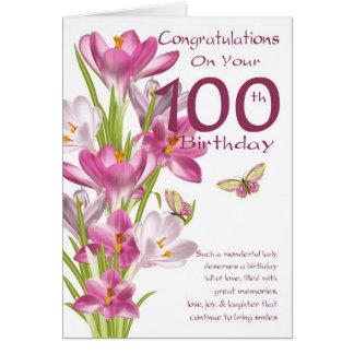 Cartão 100th Açafrão e borboleta cor-de-rosa do
