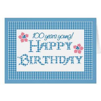 Cartão 100th Aniversário, teste padrão azul do guingão da