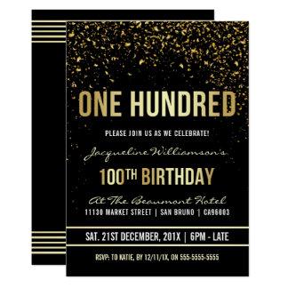 Cartão 100th Confetes cintilantes do ouro da festa de