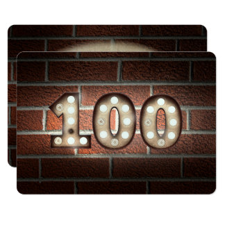 Cartão 100th Luzes do Partido-famoso do aniversário no
