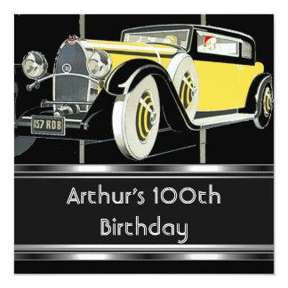 Cartão 100th O carro vintage preto da festa de