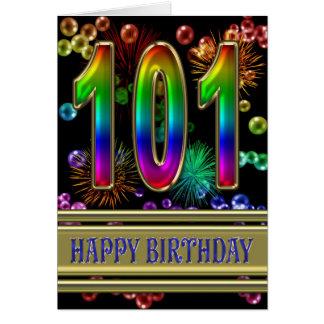 Cartão 101st Aniversário com bolhas e fogos-de-artifício
