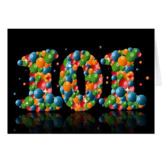 Cartão 101st aniversário com os números formados das
