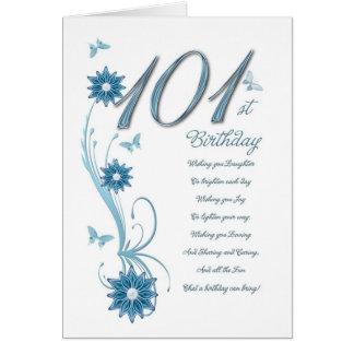 Cartão 101st aniversário na cerceta com flores